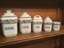 Vintage French Ceramic Kitchen Canister Set Pottery Retro Multi Color White 5