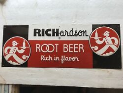 Richardson Root Beer Vintage Embossed Tin Sign Great Graphics