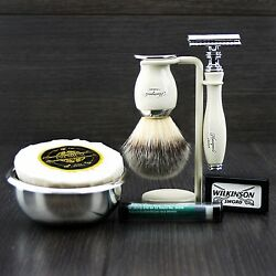 Classic Mens Shaving Gift Set De Safety And Synthetic Brush Soap Bowl Grooming Kit