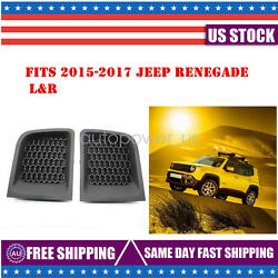 Pair FIT FOR JEEP RENEGADE 15-17 FRONT LOWER BUMPER GRILLE GRILL INSERT BEZEL
