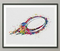Rugby Ball Watercolor Print Rugby Player Gift Boy Nursery Dorm Room Ball-1527