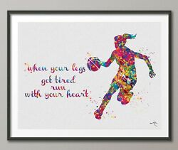 Basketball Player Girl Quote Watercolor Print Female Woman Mom Wall Art-1573