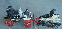 Two Cast Iron Horse Drawn Fire Engine Pumper Wagon 22 And 10 Long
