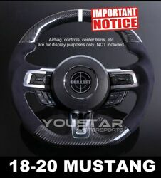 Shelby Style Carbon Alcantara White Stitch Steering Wheel For 18-20 Ford Mustang