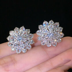 Gorgeous Stud Earrings Women 925 Silver Wedding Jewelry Cubic Zircon A Pair set $3.49