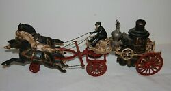 Vintage Large Cast Iron 3 Galloping Horses Drawn Fire Ladder Truck Pumper