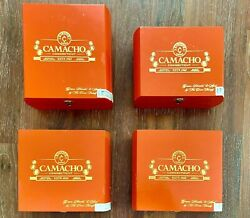 Collectible Camacho Connecticut Red Lacquered Wood Cigar Boxes, Set Of 4