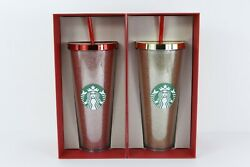 2015 Starbucks 24 Oz Cold Cup Red And Gold Glitter Tumbler Vhtf + Nwt+ Red Box