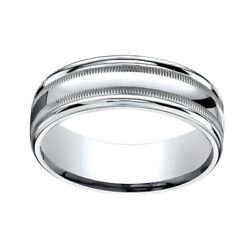 18k White Gold 7mm Comfort-fit High Polished With Milgrain Band Ring Sz-8