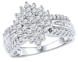 0.75 Ct Round And Baguette Shape Diamond Marquise Cluster Ring In 10k White Gold