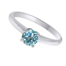 10k Solid White Gold 2.25 Ct Light Blue Moissanite Solitaire Bridal Ring Jewelry
