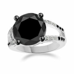 10k Gold Ring 3.25 Ct Aaa Black Moissanite And White Natural Diamond Solitaire