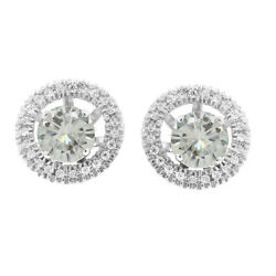 3 Ct Round Genuine Moissanite In 10k White Gold Stud Halo Earrings Jackets