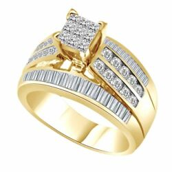 1 Ct Square Princess And Round Cut Simulated 10k Yellow Gold Engagement Ring