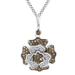 1/2 Ct Champagne And White Natural Diamond Sterling Silver Floral Pendant Necklace