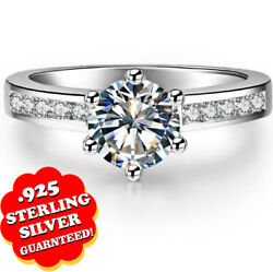 2 Ct Round Brilliant Cut 14k White Gold Over Solitaire Engagement And Wedding Ring