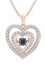 1/5ct Round Real Diamond 10k Rose Gold Double Heart Pendant Valentine Gifts