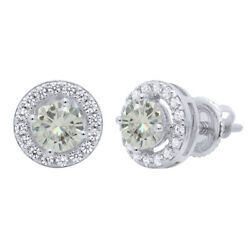 3.25 Ct Genuine Moissanite Solitaire Halo Stud Earrings In Sterling Silver