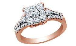 1 Ct Round Cut White Natural Diamond Cluster Square Ring In 10k Rose Gold
