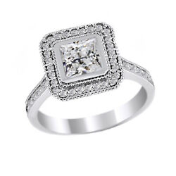 1.59 Ct Simulated Square Princess Antique Ring 14k White Gold