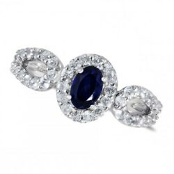 Sterling Silver Oval Cut Blue Sapphire And White Topaz Fashion Engagement Ring
