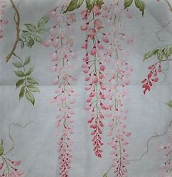 Colefax And Fowler Wisteria Glazed Cotton Linen Fabric 10 Yards Pink Green Cream