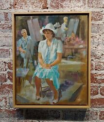 Jo Kotula -portrait Session With A Sitting Model -oil Painting