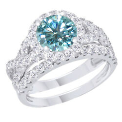 3.5 Ct Light Blue Moissanite Sterling Silver Engagement Bridal Set Ring Jewelry