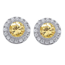 4 Ct Golden Real Moissanite Halo Stud Earrings In 10k White Gold With Push Back