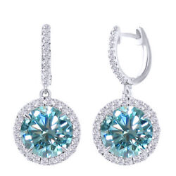 5.75 Ct Blue Moissanite Hoop Halo Solitaire Dangling Earrings Sterling Silver