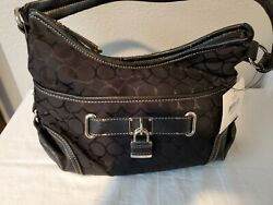 Nine West Jacquard Hobo Small Black Black Handbag New with Tags $20.00