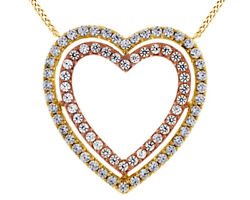 1.00 Ct White Natural Diamond Double Row Heart Pendant Necklace 10k Yellow Gold