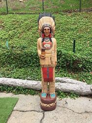 John Gallagher Carved Wooden Cigar Store Indian 5 Ft. Buffalo Very Detailed