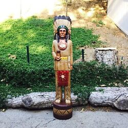 John Gallagher Carved Wooden Cigar Store Indian 5 Ft White Buffalo
