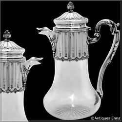 Antique French Sterling Silver And Crystal Serving Decanter Pitcher Neoclassical