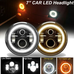 2x 7and039and039 Inch Led Headlight With Angel Eye Drl Light H4 H13 For Ford Mustang 65-73
