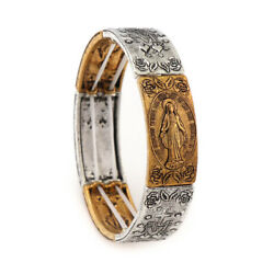 Gold and Silver Alloy Square Miraculous Medal Bracelet Elastic Stretch Bangle $9.99