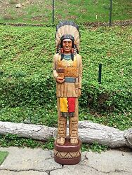 John Gallagher Carved Wooden Cigar Store Indian 5 Ft.tall In Very Detailed