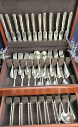Wm Rogers And Son Silver Plated Flatware 12 Dwt Set 84 Pc W/ Wooden Storage Case