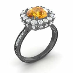 Certified 2.29 Ctw Citrine And G/si Diamond 14k Black Gold Halo Engagement Ring