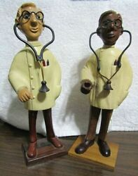 Rare Find 2 Vintage Romer Hand Carved Wood Doctors W/ Stethoscope Made In Italy