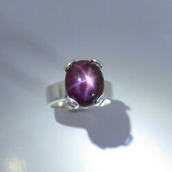 Natural Star Ruby 925 Silver / 9ct 14k 18k Gold / Platinum Solitaire Unisex Ring