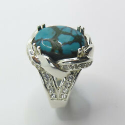 7.5ct Natural Turquoise 925 Sterling Silver 9ct 14k 18k Gold / Platinum Ring