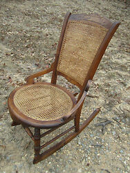 Antique American 19th Century Walnut Rocking Chair Caned Seat And Back Wonderful