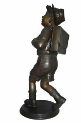 Boy With Backpack Bronze Statue - Size 20l X 18w X 46h.