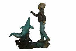 Girl Feeding A Dolphin And Seals Bronze Fountain - Size 28l X 17w X 37h.