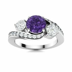 Genuine Amethyst And Si Diamond 14k White Gold Three Stone Engagement Ring Size 7