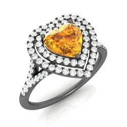 1.02ct Solid 14k Black Gold Stunning Heart-cut Natural Citrine And Si Diamond Ring