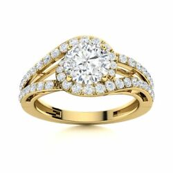 1.25 Carat Natural Certified White Topaz And Si Diamond Ring In 14k Yellow Gold