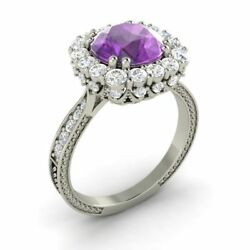 14k White Gold Certified 2.29 Ct Natural Amethyst And Si Diamond Engagement Ring
